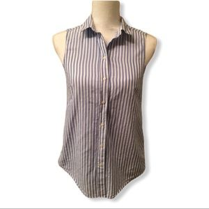 H&M Button Down Shirt Size 2 Striped Sleeves